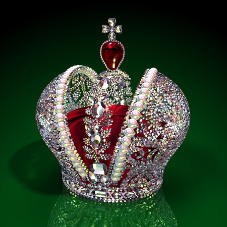 queen of diamonds: Russian Imperial Big Crown. Realistic 3D Scene.