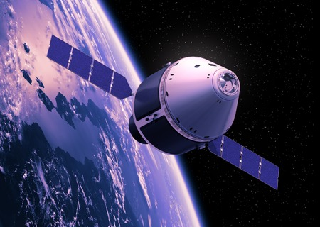 Crew Exploration Vehicle Orbiting Earth. 3D Scene. Foto de archivo