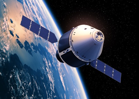 orbiting: Crew Exploration Vehicle Orbiting Earth. 3D Scene. Stock Photo