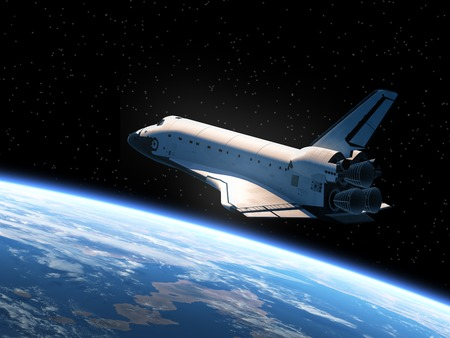 Space Shuttle Orbiting Earth. Realistic 3D Scene. Imagens