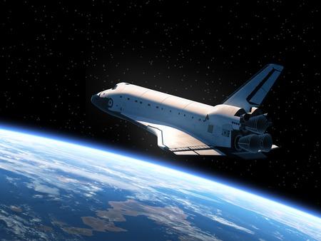 raumschiff: Space Shuttle umkreisender Erde. Realistische 3D-Szene.