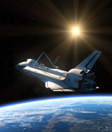 outer space: Space Shuttle Orbiting Earth. Realistic 3D Scene. Stock Photo