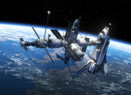 astronomy: Space Shuttle And Space Station In Space. 3D Scene.
