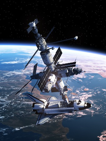 stations: Space Shuttle Docking With Space Station. 3D Scene.
