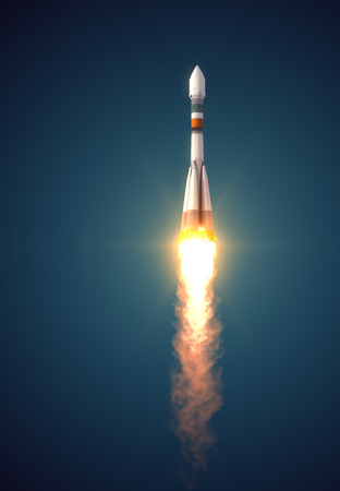 launch: Carrier Rocket Soyuz-Fregat Takes Off. 3D Scene.