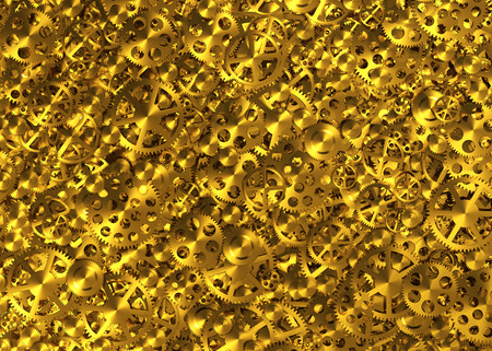 robotic transmission: Yellow Metal Gears Texture. Realostic 3D Scene.