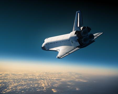 Space ShuttleFlying In The Sky. 3D Scene.