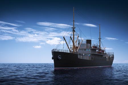 Vrachtschip In De Zee. 3D-scène.