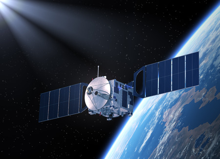 Satellite Orbitin Planet Earth. Realistic 3D Scene