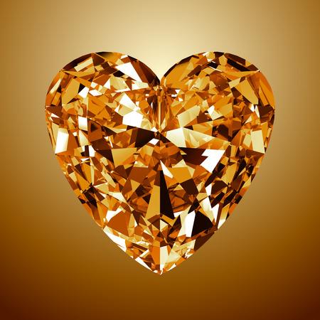 coeur diamant: Yellow Diamond Heart. Modèle 3D sur fond jaune. Banque d'images