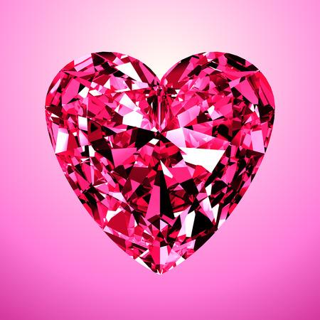 coeur diamant: Coeur de diamant rose. Modèle 3D sur fond rose.
