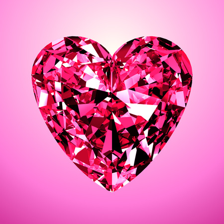 Pink Diamond Heart. 3D Model On Pink Background. Stock Photo