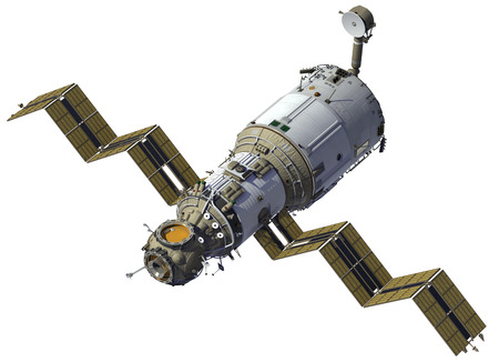 Space Station implementeert Zonnepanelen Stockfoto
