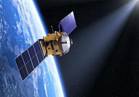 Satelliet In De Ray Of Light. 3D-scène. Stockfoto - 36672716