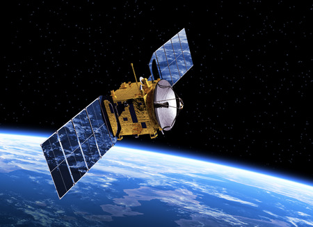 통신 위성 궤도 지구. 현실적인 3D 장면.