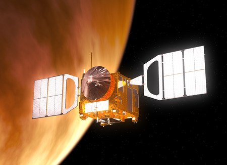 orbiting: Interplanetary Space Station Orbiting Planet Venus. 3D Scene.