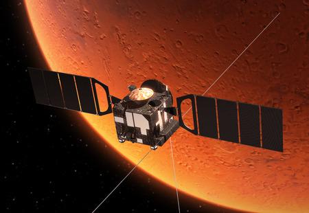 interplanetary: Interplanetary Space Station Orbiting Planet Mars. 3D Scene.