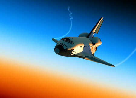 Space Shuttle Landing In Stratosphere. 3D Scene. Stock Photo