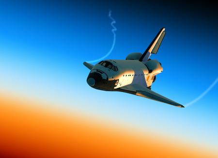 space shuttle: Space Shuttle Landing In Stratosphere. 3D Scene. Stock Photo