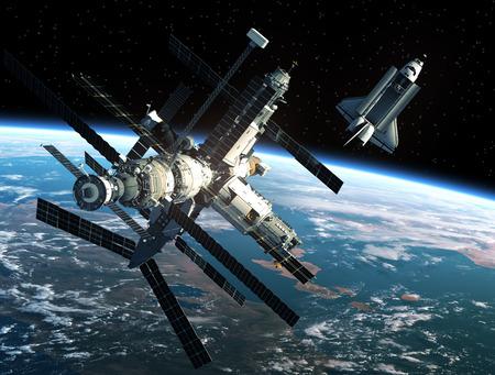 Space Station En Space Shuttle. 3D-scène.