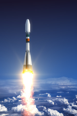 launch: Heavy Carrier Rocket Launch In Clouds. 3D Scene.
