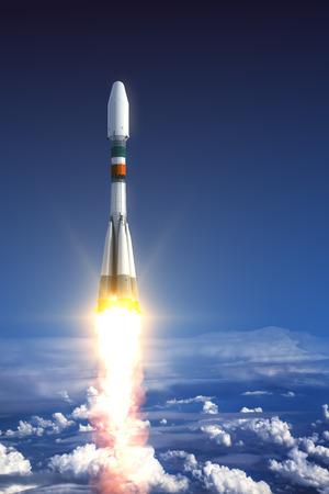 rockets: Heavy Carrier Rocket Launch In Clouds. 3D Scene.