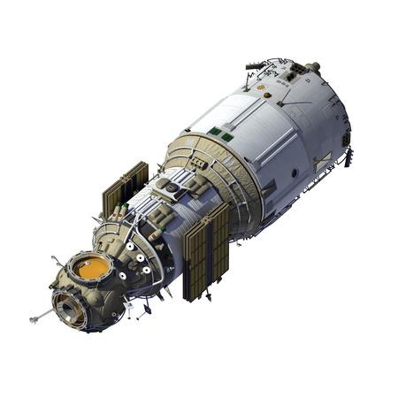 soyuz: Space Station With Folded Solar Panels. 3D Model. Stock Photo