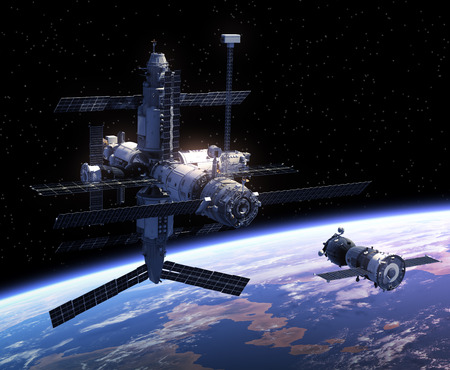 spacecraft: Spacecraft And Space Station In Space. 3D Scene. Stock Photo