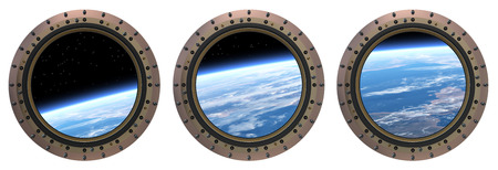 Three Space Station Portholes.  Realistic 3D Scene.