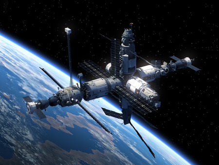 international: Space Station Orbiting Earth. Realistic 3D Scene.