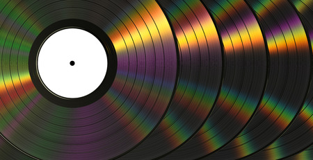 interference: Vinil Records With Dispersion. Background. 3D Scene. Stock Photo