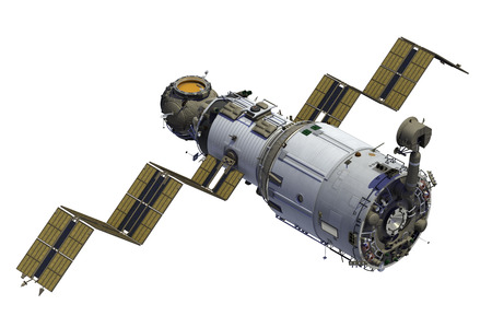 Space Station Deploys Solar Panels. 3D Model. Stock Photo