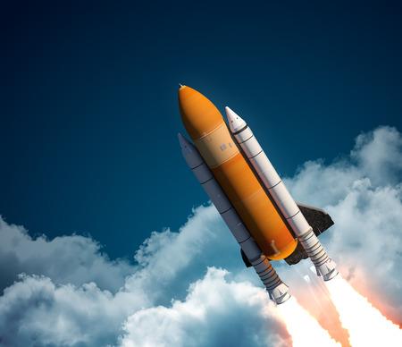 cohetes: Transbordador espacial en las nubes. Escena 3D.