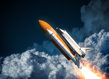 Space Shuttle Flying In The Clouds. 3D Scene. Imagens