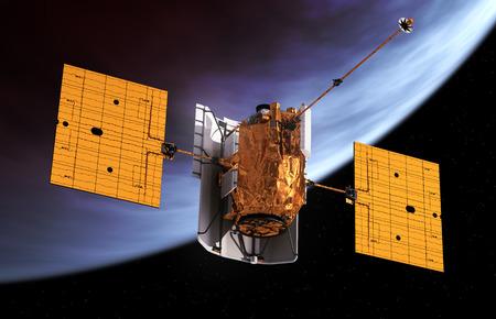 orbits: Interplanetary Space Station Orbiting Planet. 3D Model.