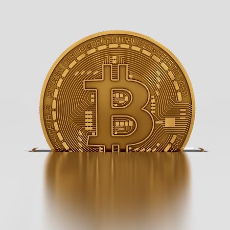 banking concept: Bitcoin Drops Into A Slot. 3D Scene. Stock Photo