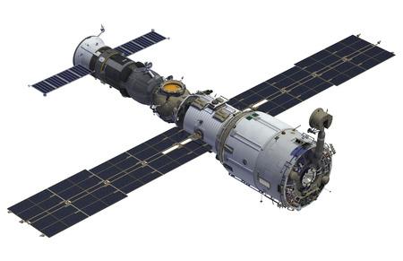 astronauta: Estación Espacial y naves espaciales en el fondo blanco. Modelo 3D.