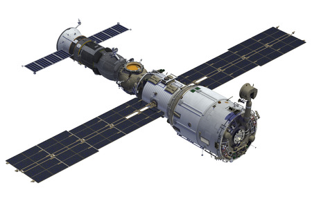 stations: Space Station And Spacecraft On White Background. 3D Model.