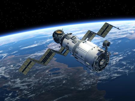 space station: Space Station Deploys Solar Panels. 3D Scene. Stock Photo