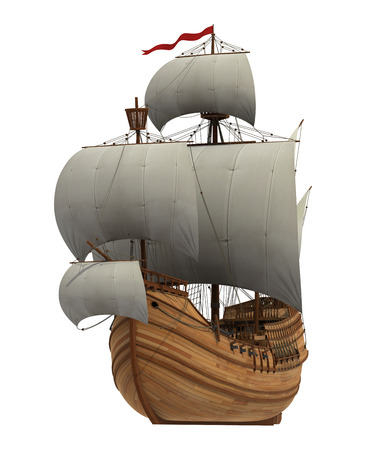 Caravel With White Sails On White Background. 3D Scene.