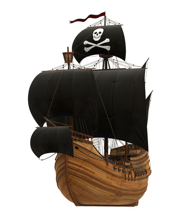 Pirate Ship On White Background. 3D Model. Stock Photo