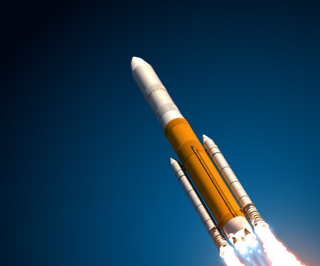 rocket launch: Heavy Expendable Launch Vehicle. Realistic 3D Scene. Stock Photo