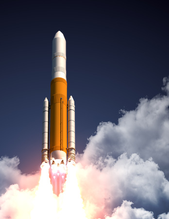 launch: Heavy Carrier Rocket Take Off. 3D Scene.