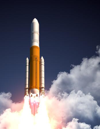 launching: Heavy Carrier Rocket Take Off. 3D Scene.
