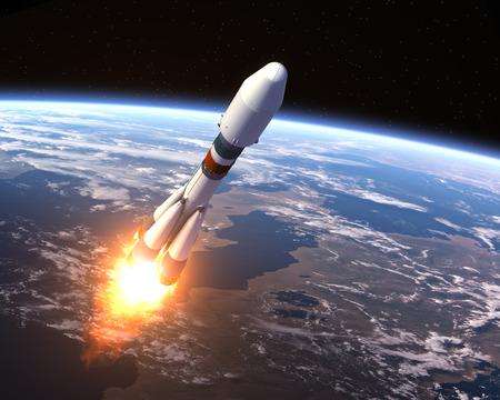Heavy Carrier Rocket Launch. Realistic 3D Scene.