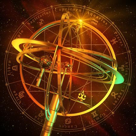 reloj de sol: Esfera armilar Con los símbolos del zodiaco sobre fondo rojo. Escena 3D. Foto de archivo