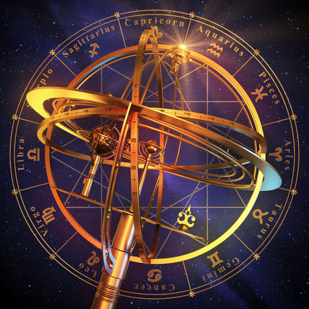 reloj de sol: Esfera armilar Con los símbolos del zodiaco sobre fondo azul. Escena 3D.