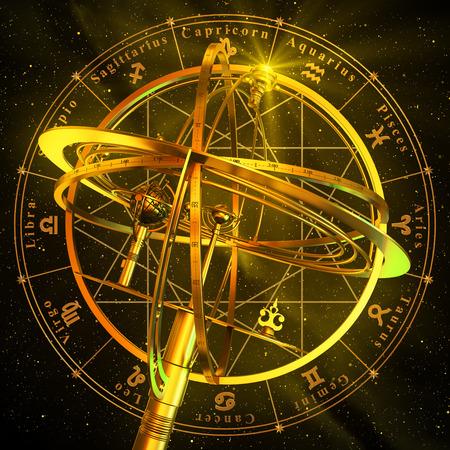 Armillary Sphere With Zodiac Symbols Over Black Background. 3D Scene. Stockfoto