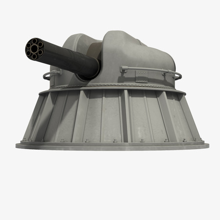 deck cannon: Automatic Naval Close-in Weapon System. 3D Model. Stock Photo