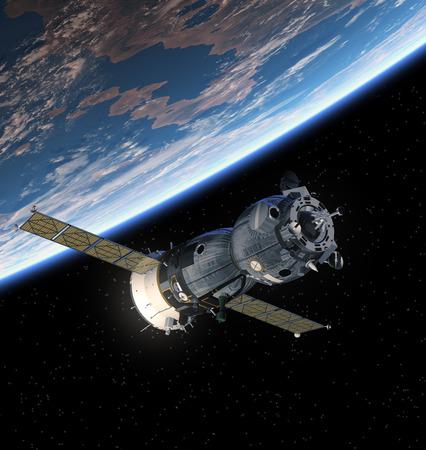 soyuz: Spacecraft With Open The Solar Panels. 3D Scene.